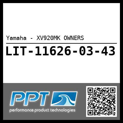 Yamaha - XV920MK OWNERS