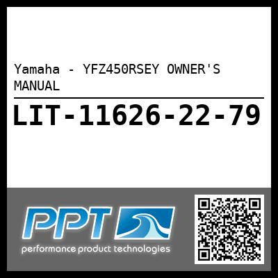 Yamaha - YFZ450RSEY OWNER'S MANUAL
