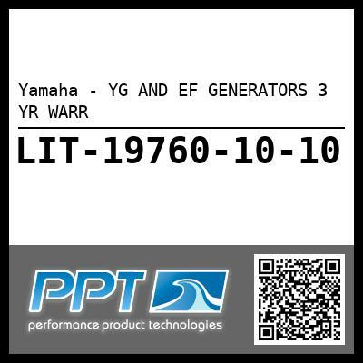 Yamaha - YG AND EF GENERATORS 3 YR WARR