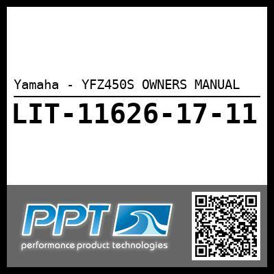 Yamaha - YFZ450S OWNERS MANUAL