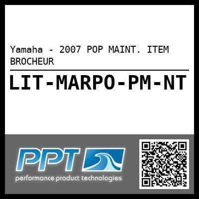 Yamaha - 2007 POP MAINT. ITEM BROCHEUR