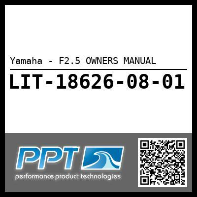 Yamaha - F2.5 OWNERS MANUAL