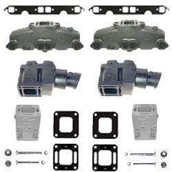 Mercruiser Mercruiser 5.0L/5.7L/6.2L Coated Cast Iron Exhaust Manifold & Riser Kit w/ 6
