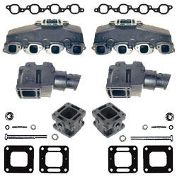 Mercruiser Big V8 Coated Cast Iron Exhaust Manifold & Riser Kit w/ 3