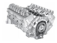 Rebuilt GM Marine Long Block Engines - 4 Cylinder