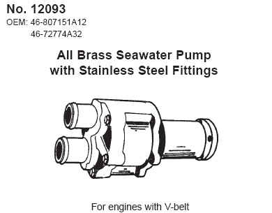 Direct Replacement (BRASS) Mercruiser Seawater Pump Assembly - Replaces mercruiser p/n 46-807151A12 & 46-72774A32 - Click Here to See Product Details