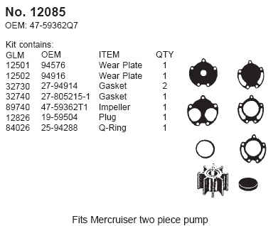 Water Pump Service Kit - 2 pc body - Click Here to See Product Details