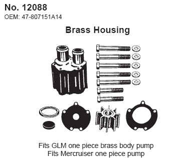 Water Pump Service Kit - 1 pc Brass Body Replaces Mercruiser 46-807151A14 - Click Here to See Product Details